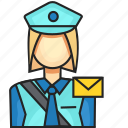 avatar, female, postman, profession icon