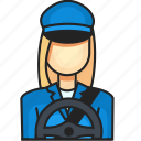 avatar, driver, female, profession icon