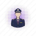 aircraft, airplane, captain, comics, pilot, travel, uniform icon