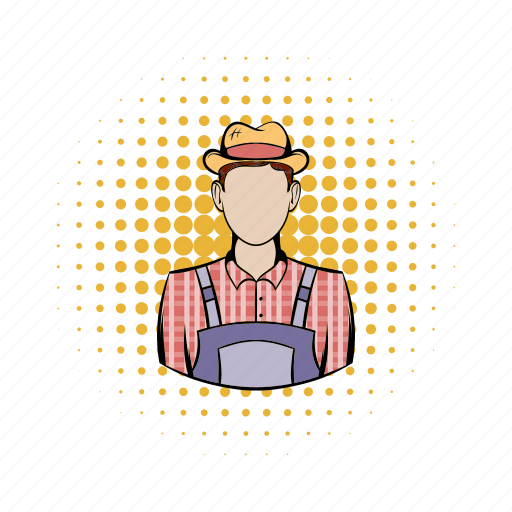 agriculture, comics, farm, farmer, farming, field, man icon
