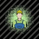 builder, comics, construction, hat, helmet, man, worker