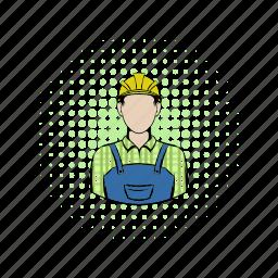 builder, comics, construction, hat, helmet, man, worker icon