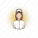comics, health, hospital, medicine, nurse, patient, woman icon