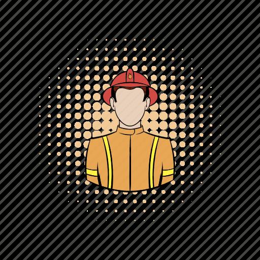 comics, emergency, firefighter, helmet, rescue, safety, uniform icon