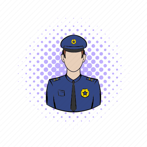 comics, man, officer, police, policeman, security, uniform icon