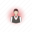 comics, male, man, person, restaurant, service, waiter icon
