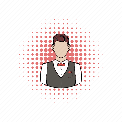 comics, male, man, person, restaurant, service, waiter icon