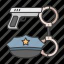 cap, career, gun, police, profession, shackle icon