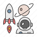astronaut, astronomer, career, profession, rocket, stars, universe icon