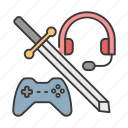 career, controller, game, gamer, headphone, profession, sword icon