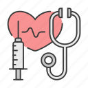 career, doctor, heart, physician, profession, stethoscope, syringe icon