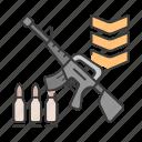bullet, career, gun, profession, rank, soldier, war icon