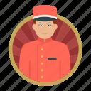 bell boy, hotel boy, bellhop, waiter, serving, staff, employee
