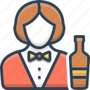 bartender, female, serving, waitress, woman icon