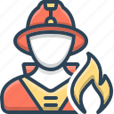 firefighter, fireman, protection, safety, security, shield icon