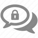 chat, communication, lock, message, protection, secure, security icon