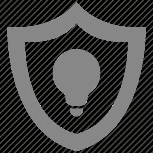 bulb, idea, light, protect, secure, security icon