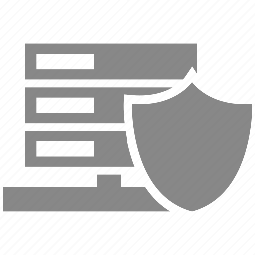 database, lock, protection, secure, security, server, shield icon