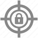 goal, lock, protect, protection, secure, security, target icon
