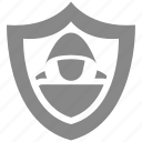 hacker, protection, safe, security, shield, white icon