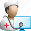 computer doctor, health, hospital, medical, monitor, online medicine icon