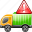 delivery, problem, shipping, transport, transportation, truck, warning icon