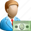 bank, business man, dollar, finance, money, payment, salary icon