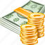 banknotes, business, cash, coins, finance, money, shopping icon