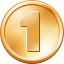 cash, currency, dollar, finance, gold deposit, money, one coin icon