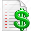 financial, green dollar, invoice, money, price list, pricelist, prices icon