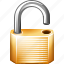 lock, secure, security, unlock icon