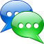 announcement, base, chat, chatter, colloquy, commune, communication, confabulate, conversation, converse, dangle, forum, gossip, information, interview, message, prattle, report, sms, statement, talk icon