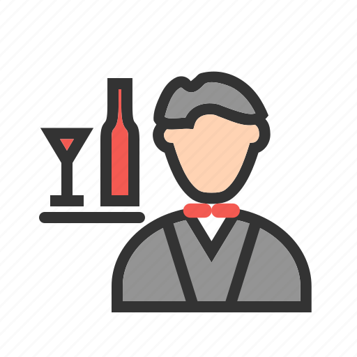 Hotel, people, restaurant, service, staff, tray, waiter icon - Download on Iconfinder