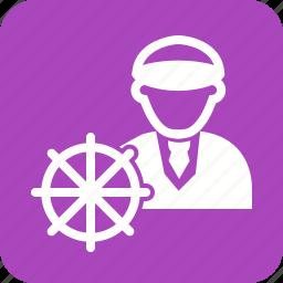 boat, bridge, captain, navigation, officer, sailor, ship icon