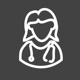 doctor, female, medical, patient, stethoscope, tablet icon