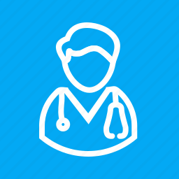 doctor, male, man, medical, patient, stethoscope, tablet icon