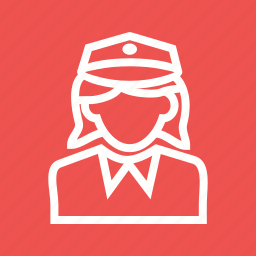 cop, female, law, officer, police, uniform, woman icon