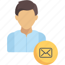 avatar, envelope, media, message, professional, social, user icon