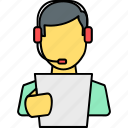 avatar, person, profile, speaker, spokesman, student, telecaller icon