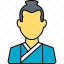 avatar, japanese, male, person, profile, samurai, user icon