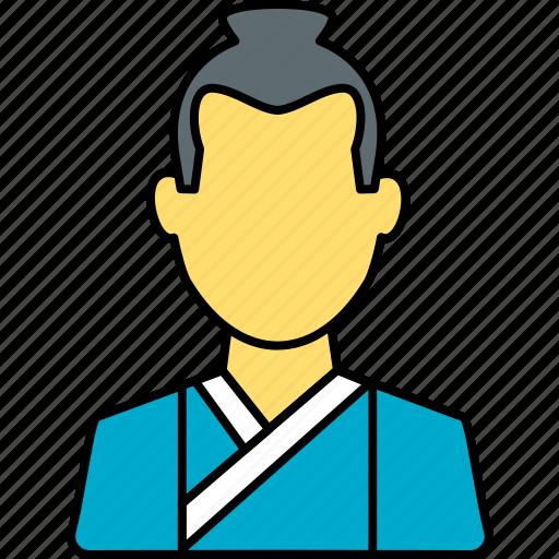 avatar, japanese, male, person, profile, samurai, user icon