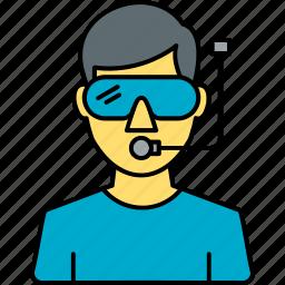 avatar, boy, diver, profile, scuba, scuba diver, underwater icon