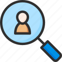 find, information, magnifier, profile, search, user icon
