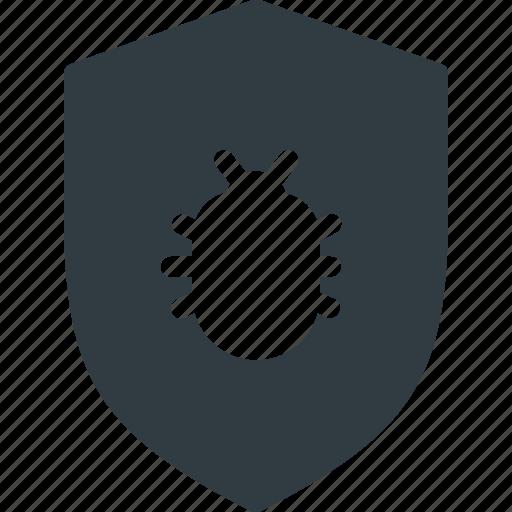 bug, programing, protect, protection, shield icon