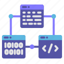 binary, code, connection, script, website icon