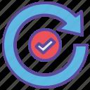 arrow, backup, refresh, success, tick icon