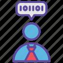 binary, hacker, people, programmer, user icon