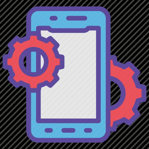 development, gear, mobile, service, smartphone icon