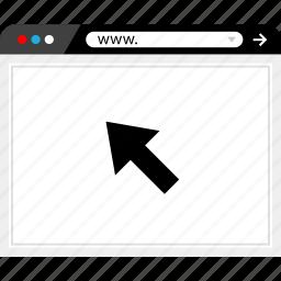 arrow, browser, click, internet, online, visit, web icon