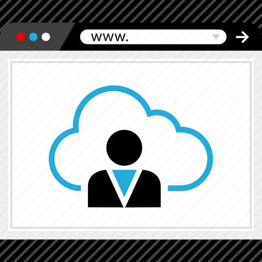browser, cloud, internet, online, profile, user, web icon